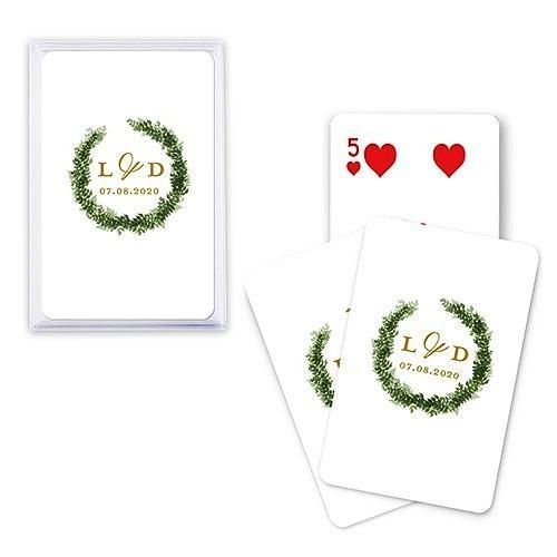 Unique Custom Playing Card Favors - Love Wreath Design