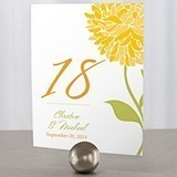 Zinnia Bloom Motif Personalized Table Numbers (Package of 12)