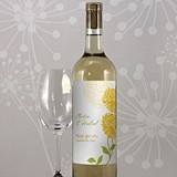 Zinnia Bloom Motif Personalized Wine Bottle Labels (Set of 8)