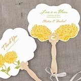 Zinnia Bloom Motif Personalized Hand Fans (8 Colors) (Set of 2)