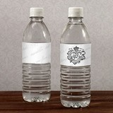 Poetic French Script and Royal Crest Water Bottle Labels (Set of 10)