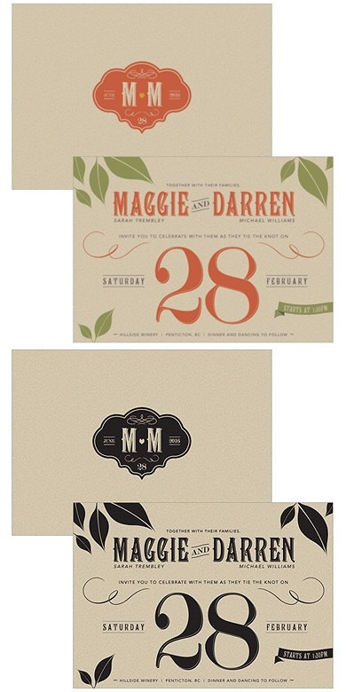 """Vineyard Motif"" Personalized Wedding Invitations (Set of 4)"