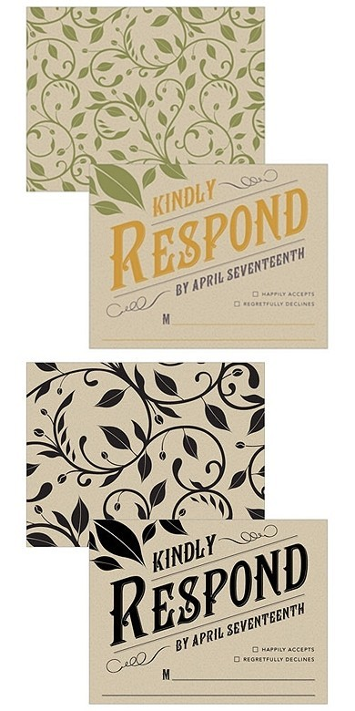 """Vineyard Motif"" Personalized RSVP Cards (Set of 6)"
