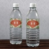 Wine Country Theme Monogrammed Water Bottle Labels (Set of 10)