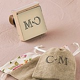 Weddingstar Burlap Chic Monogram Personalized Rubber Stamp
