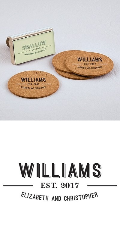 """""""Bistro Bliss"""" Personalized Names Rubber Stamp"""