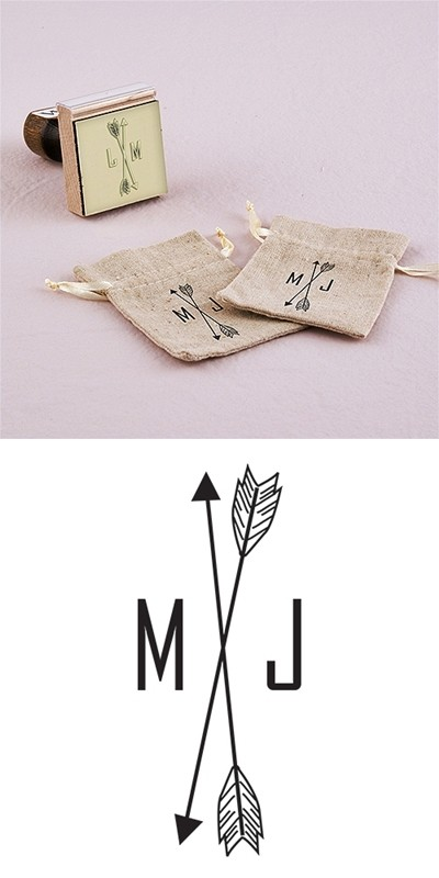 """Free Spirit"" Personalized Arrow Monogram Rubber Stamp"