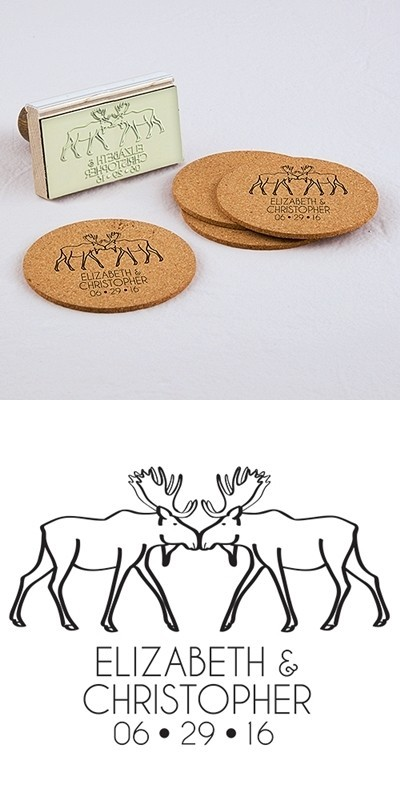 """Woodland Style"" Moose Motif Personalized Rubber Stamp"
