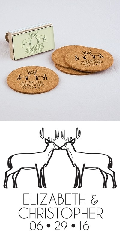 """""""Woodland Style"""" Deer Motif Personalized Rubber Stamp"""