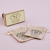 """Woodland Style"" Squirrels & Heart Personalized Rubber Stamp"
