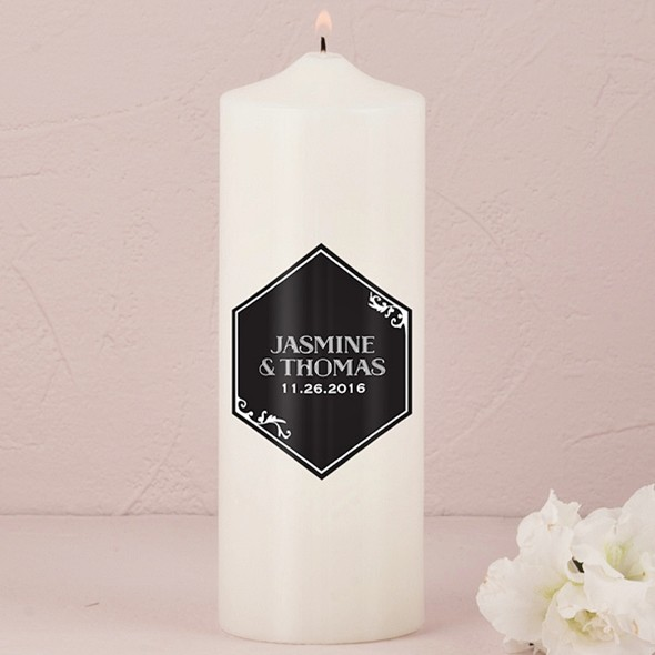 Black and Gold Opulence Art Deco Motif Unity Candle (Ivory or White)