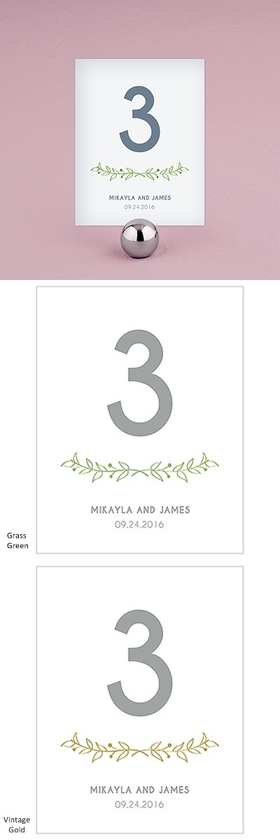 """Woodland Pretty"" Personalized Table Numbers (Set of 12)"