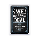 Unique Custom Playing Cards with 'We Sealed the Deal' Chalkboard Motif