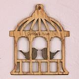 Personalized Birdcage Design Wood Veneer Sign/Cake Topper