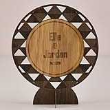 Personalized Geometric Design Wood Veneer Sign/Cake Topper