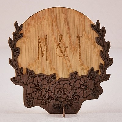 Personalized Rustic Floral Design Wood Veneer Sign/Cake Topper