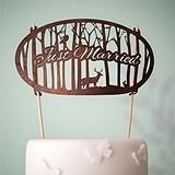 """Weddingstar """"Just Married"""" Woodland Wood Veneer Cake Topper"""