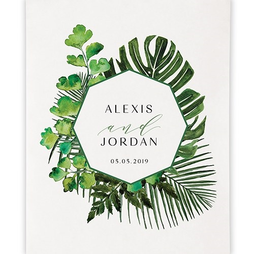Weddingstar Personalized Greenery Motif Premium Canvas Backdrop