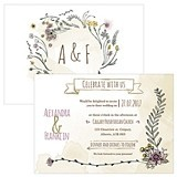 Personalized 'Natural Charm' Horizontal Wedding Invitations (Set of 4)