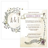 Personalized 'Natural Charm' Vertical Wedding Invitations (Set of 4)