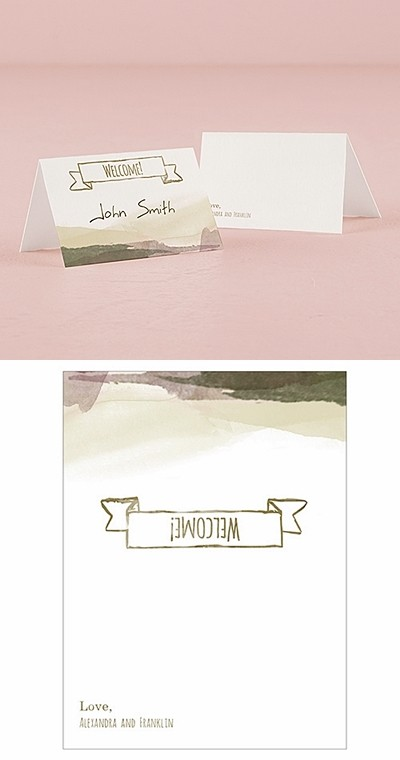 """""""Natural Charm"""" Personalized Place Cards w/ Fold (Set of 6)"""