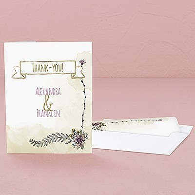 """Natural Charm"" Personalized Thank You Cards (Set of 2)"