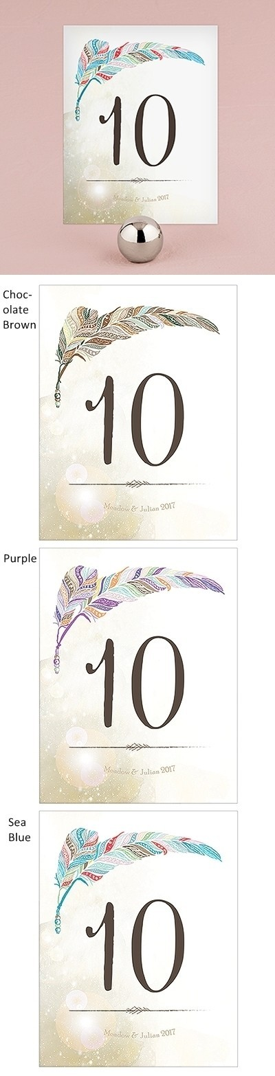 """""""Feather Whimsy"""" Personalized Table Numbers (Set of 12)"""