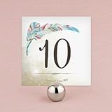 Personalized 'Feather Whimsy' Square Table Numbers (Set of 12)