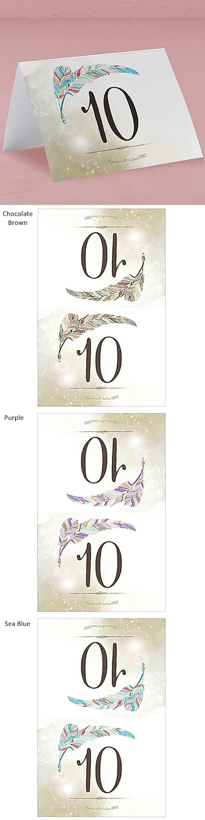 """Feather Whimsy"" Personalized Table Number Cards (Set of 12)"