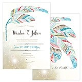 Personalized 'Feather Whimsy' Wedding Invitations (Set of 4)