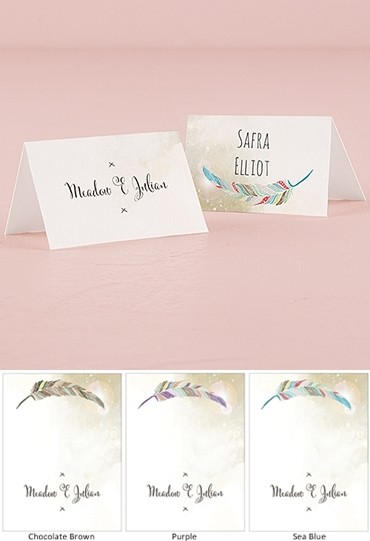 """Feather Whimsy"" Personalized Place Cards (Set of 6)"