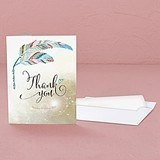 """Feather Whimsy"" Personalized Thank You Cards (Set of 2)"