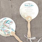 """Feather Whimsy"" Personalized Round Hand Fans (Set of 2)"