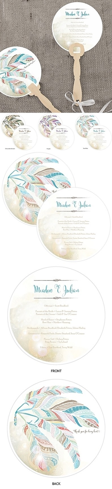"""""""Feather Whimsy"""" Personalized Round Hand Fans (Set of 2)"""