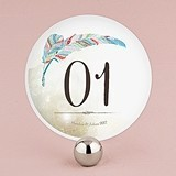 Personalized 'Feather Whimsy' Round Table Numbers (Set of 12)