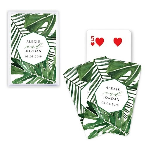 Unique Custom Playing Card Favors - Tropical Palm Leaf Design