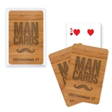 Unique Custom Playing Card Favors with Woodgrain 'Man Cards' Design