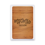 Unique Custom Playing Card Favors - Mr & Mrs Script Woodgrain Design
