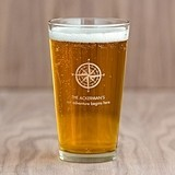 Personalized Travel & Adventure Pint Glass with Printed Compass Design