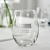 Weddingstar Personalized Eat Drink and Be Married Stemless Wine Glass