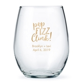 Weddingstar Personalized Large 15 oz. Stemless Wine Glass - Printed