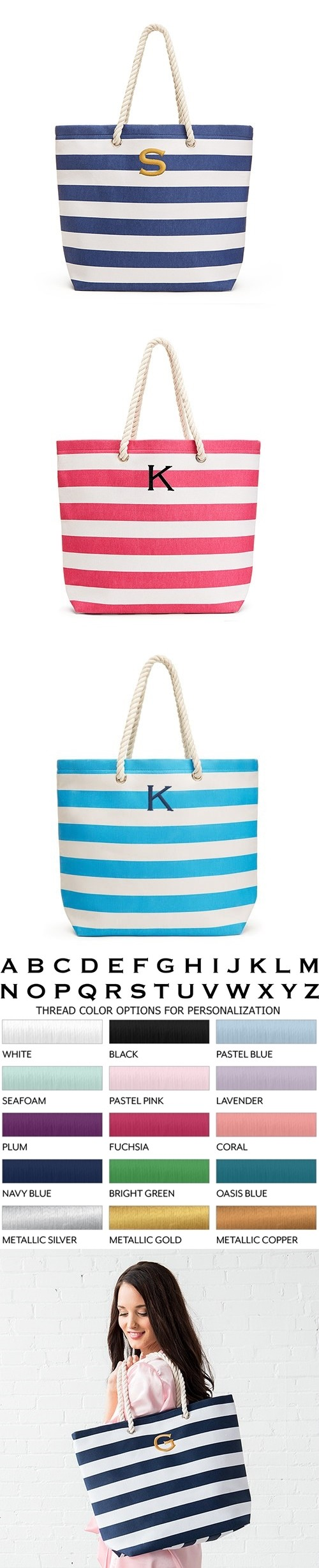 Weddingstar Monogrammed Extra-Large Wide Stripe Cabana Tote (3 Colors)