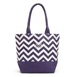 Weddingstar Chevron Canvas Tote Bag with Initial - Grape