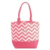 Weddingstar Chevron Canvas Tote Bag with Initial - Pink