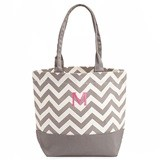 Weddingstar Chevron Canvas Tote Bag with Initial - Gray