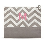 Weddingstar Gray Chevron Large Cosmetic Bag with Initial