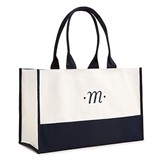 Weddingstar Personalized Classic Script Initial Canvas Tote - Navy