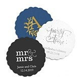 Personalized Scalloped-Edge Paper Coasters (8 Colors) (Set of 100)