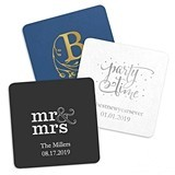 Weddingstar Personalized Square Paper Coasters (8 Colors) (Set of 100)