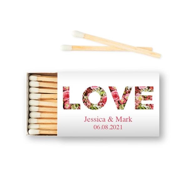 Weddingstar Custom Matchbox Wedding Favors - Floral Love (Set of 50)